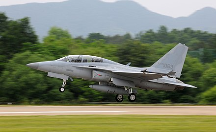 ROKAF FA-50, a supersonic combat aircraft developed by Korea Aerospace Industries Light Combat FA-50 Fighting Eagle.jpg