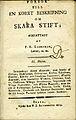 Lindskog, Försök till en korrt beskrivning om Skara stift, II Häftet (1813) titelblad.jpg