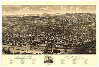 History of Albany, New York (1860–1900) - A lithograph of Albany as seen in 1879, with the Albany Basin and Maiden Lane Bridge in foreground.