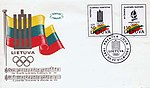 Lithuanian Anthem - Olympic Committee stamp, 1992.jpg