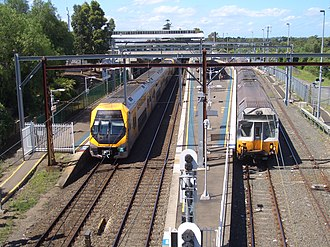 Liverpool railway station - Northbound view from Newbridge Road in December 2007 before construction of Platform 4 and the Southern Sydney Freight Line