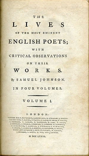 Lives of the Most Eminent English Poets - Title page of a 1781 edition of Samuel Johnson's Lives of the Poets.