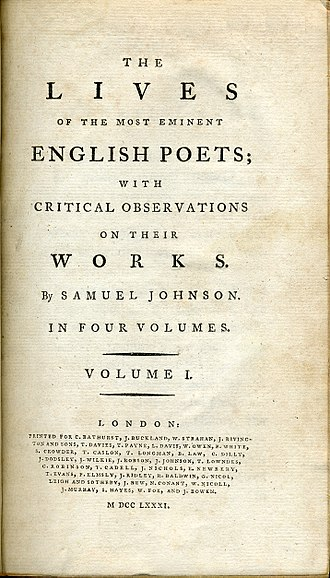 Lives of the Most Eminent English Poets - Title page of a 1781 edition of Samuel Johnson's Lives of the Poets