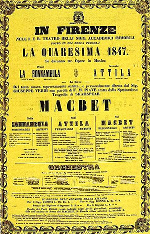 Macbeth (opera) - Poster for the premiere of Verdi's Macbeth