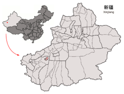 Location of Tumxuk City (red) jurisdiction in Xinjiang
