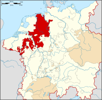 Map of a large region (in white) including all the territory of modern Germany, Austria, Switzerland, Belgium and the Netherlands, plus parts of most neighbouring countries, including most of Northern Italy. Some of the northwest part region is highlighted in color, including Münster, most of the Netherlands and parts of modern Belgium.