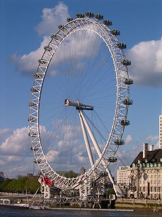 London Eye - Supported by an A-frame on one side only, the Eye is described by its operators as a cantilevered observation wheel