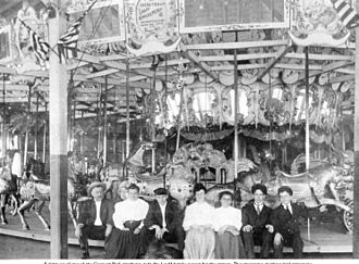 Charles I. D. Looff - Charles I. D.Looff family at the 1895 Crescent Park Carousel, Riverside, RI c. 1905
