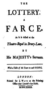 <i>The Lottery</i> (play) play written by Henry Fielding