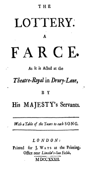 The Lottery (play) - Titlepage to The Lottery: a Farce