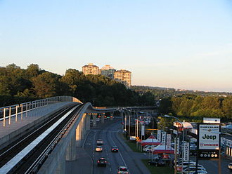 British Columbia Highway 7 - The Lougheed Highway just east of Brentwood Town Centre SkyTrain station in Burnaby