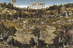 1544 in art - Cranach – Hunt in Honour of Charles V at the Castle of Torgau, Museo del Prado