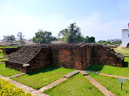 Lumbini, listed as the birthplace of Gautama Buddha by the UNESCO World Heritage Convention Lumbini - Excavated Buildings, Lumbini (9241388221).jpg