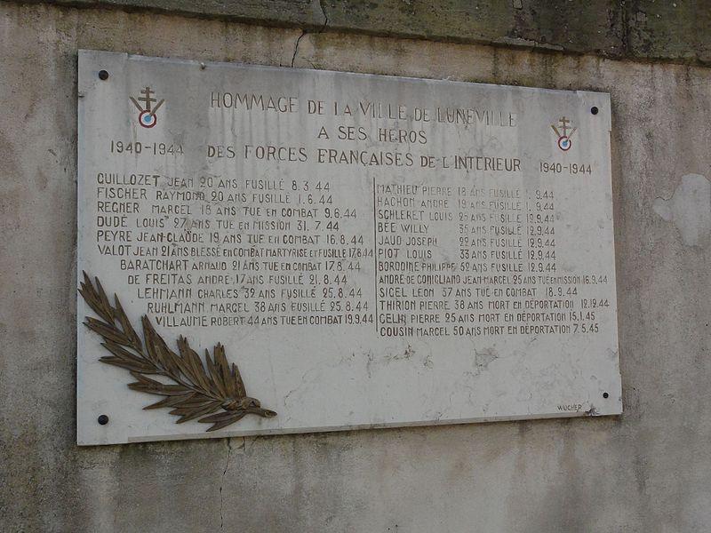 Lunéville (M-et-M) plaque commém. 20 sept.1944
