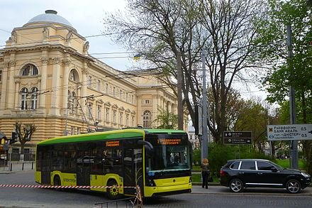 Ukrainian low-floor trolleybus Electron T19 on the city street LvivElectronTrolley.JPG
