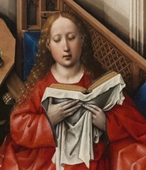 Mérode Altarpiece - Detail with the Virgin reading a book of hours