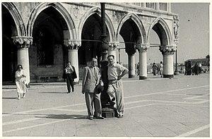 Maciej Masłowski - Maciej Masłowski (left) and Polish consul Stefan Płoński, Piazza di San Marco, Venice, August 1948