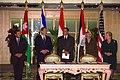Madeleine Albright, Hosni Mubarak, Ehud Barak, Yasser Arafat, and Abdullah II of Jordan in Sharm-El-Sheikh, Egypt.jpg