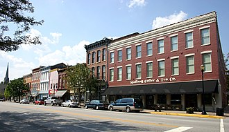 Madison, Indiana - Historic buildings line the north side of Main Street in Madison.