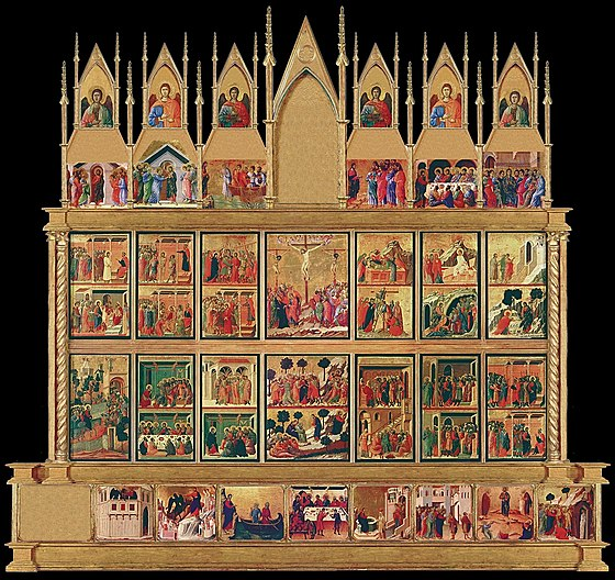The Maesta by Duccio, (1310) depicting the life of Christ, with 26 central scenes devoted to the Passion and Resurrection. Maest 001 duccio siena duomo.jpg