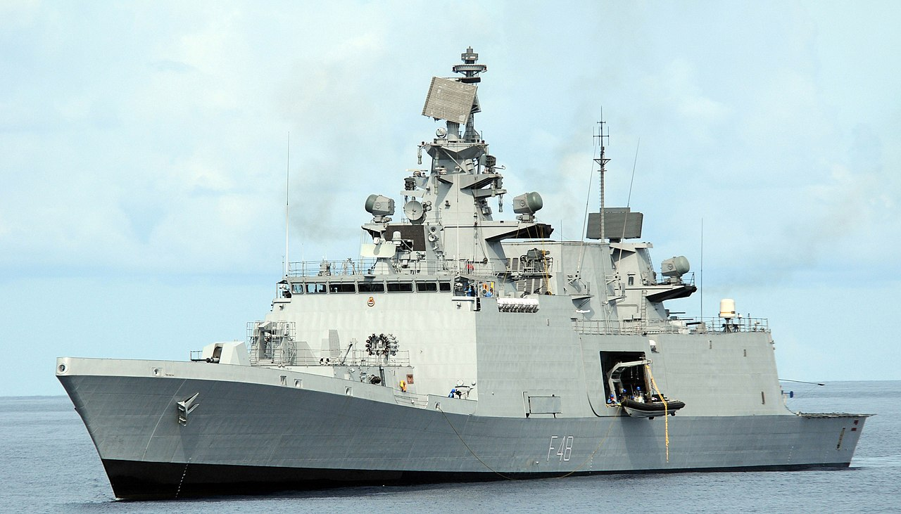 INS Satpura of the Indian Navy, one of the first stealth warships built by India at Malabar 2012 military exercises