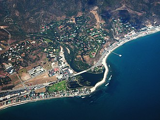 Malibu, California - Aerial view of Downtown Malibu and surrounding neighborhoods