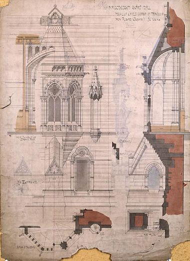 Detail of facades by Alfred Waterhouse Manchester Town Hall working drawings.jpg