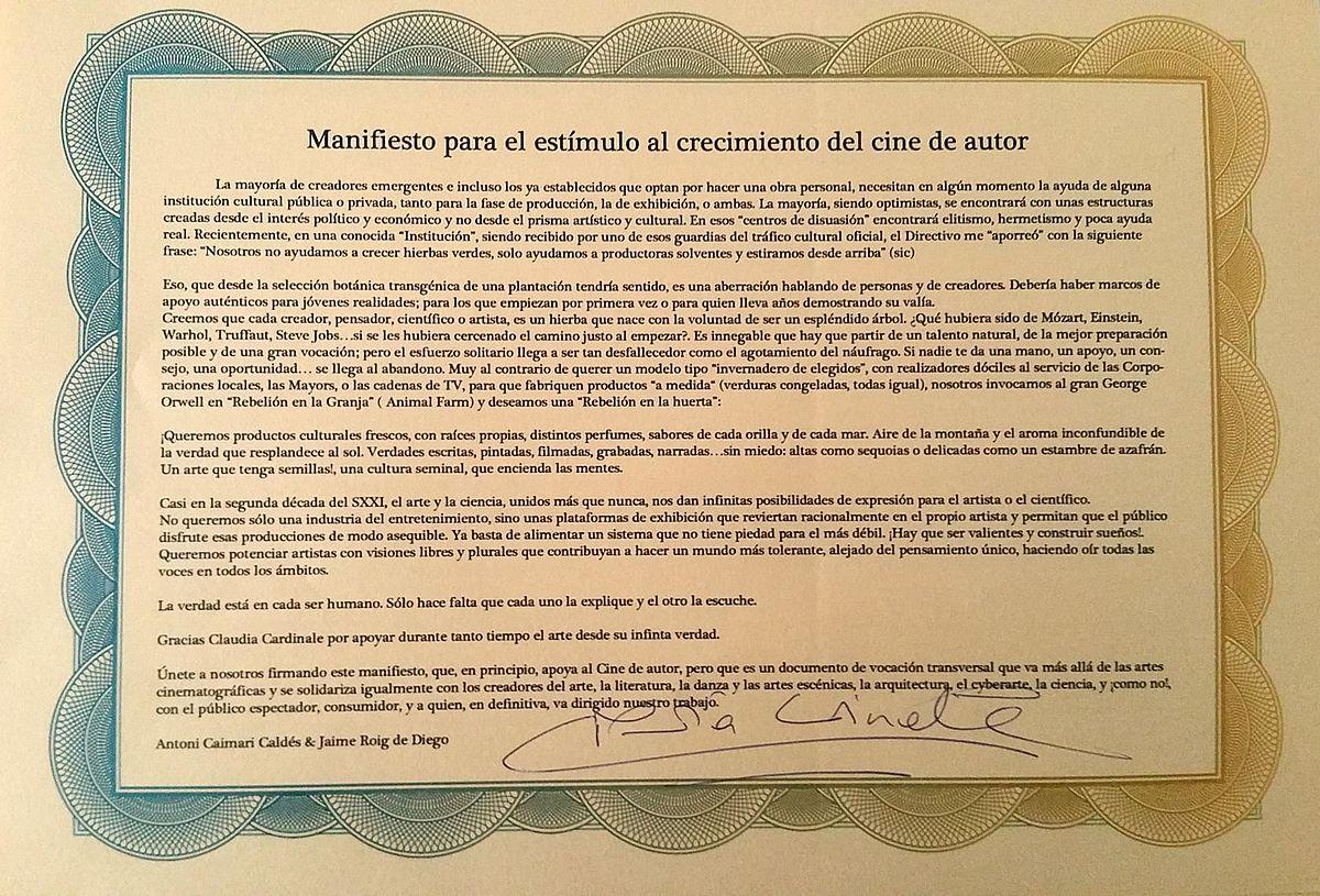 File Manifiesto Para El Estímulo Al Crecimiento Del Cine De Autor Jpg Wikimedia Commons