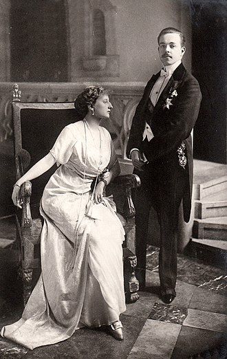 Augusta Victoria of Hohenzollern - King Manuel II and his wife Augusta Victoria