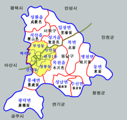 Seobuk-gu is located in the northwestern part of Cheonan.