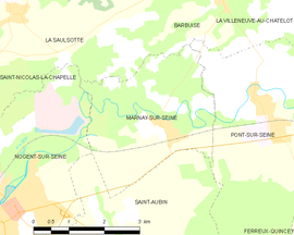 Mapa obce Marnay-sur-Seine