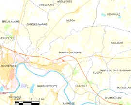 Mapa obce Tonnay-Charente