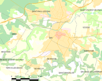 Map of the commune of Dax