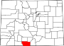 Map of Colorado highlighting Conejos County.svg