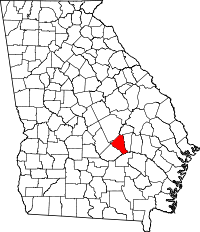 Map of Georgia highlighting Wheeler County