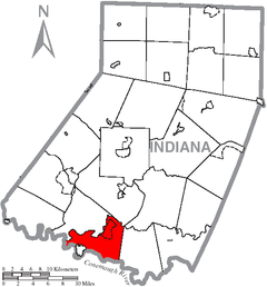 Map of Indiana County, Pennsylvania Highlighting Burrell Township.PNG