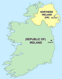 Political entities on the island of Ireland Map of Ireland's capitals.png
