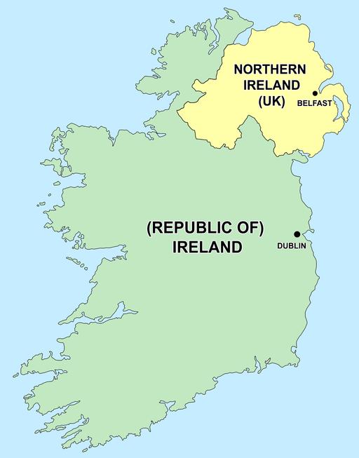 Map of Ireland's capitals