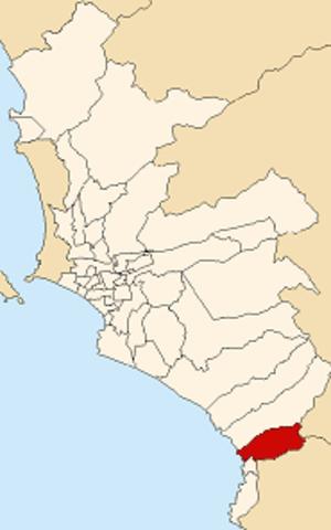 San Bartolo District - Image: Map of Lima highlighting San Bartolo