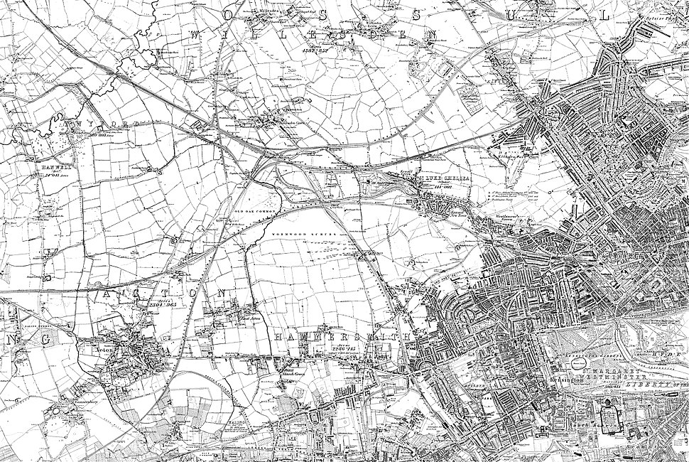 Extract of OS Map of 1868-1883. Click on map to view wider sheet.