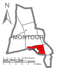 Map of Montour County, Pennsylvania Highlighting Mahoning Township.PNG