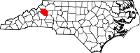 Map of North Carolina highlighting Caldwell County