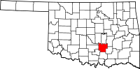 Map of Oklahoma highlighting Pontotoc County