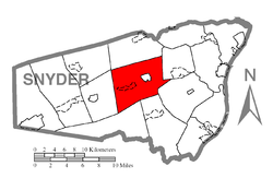 Map of Snyder County, Pennsylvania highlighting Franklin Township