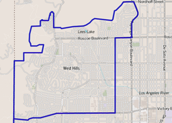 West Hills as delineated by the Los Angeles Times