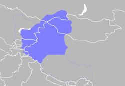 Dzungar Khanate por volta do século 18 com fronteiras modernas