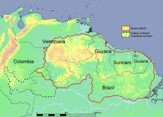 Guiana Shield Precambrian geological formation in northeast South America, and one of three cratons of the South American Plate