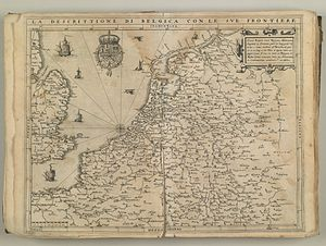 Cornelis de Hooghe - Map of the Netherlands - copper plate by Cornelis de Hooghe for Lodovico Guicciardini's description of the low countries