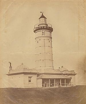 Macquarie Lighthouse -  The first Macquarie Lighthouse, built 1816-18 photograph taken in the 1870s; from the 'Papers of James Barnet'