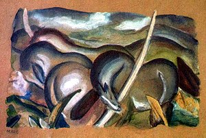 2012 Munich artworks discovery - Franz Marc's Pferde in Landschaft, one of the artworks discovered in the Gurlitt collection (probably 1911, gouache on coloured paper).